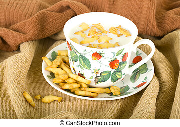 Cup With Milk and Crackers