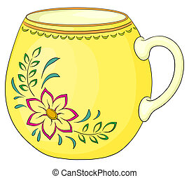 Cup with pattern - China yellow cup with a pattern from a...