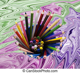 cup with pencils and crayons