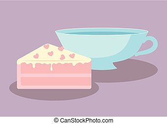 cup with slice of sweet cake