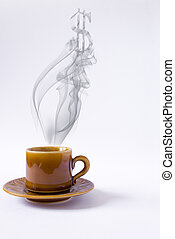 cup with smoke dollar shape on white background