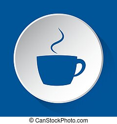 cup with smoke - simple blue icon on white button