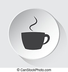 cup with smoke - simple gray icon on white button