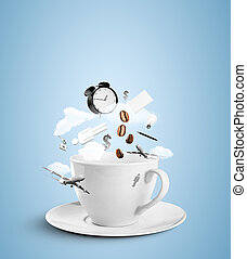 cup with social hurricane on blue