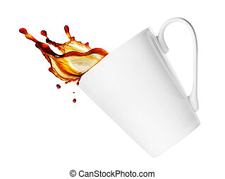 cup with splash isolated on white