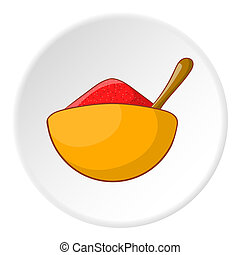 Cup with spoon and food icon, cartoon style