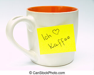 Cup with sticky note