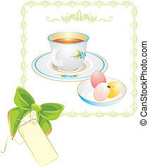 Cup with tea and Easter eggs