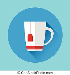 Cup With Tea Bag Colorful Icon