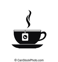 Cup with tea bag icon, black simple style