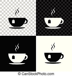 Cup with tea bag icon isolated on black, white and transparent background. Vector Illustration