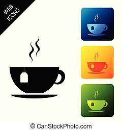 Cup with tea bag icon isolated. Set icons colorful square buttons. Vector Illustration