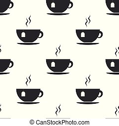 Cup with tea bag icon seamless pattern on white background. Flat design. Vector Illustration