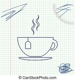 Cup with tea bag line sketch icon isolated on white background. Vector Illustration