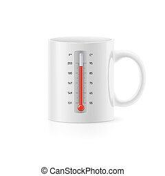 Cup with thermometer - Realistic white office cup with...