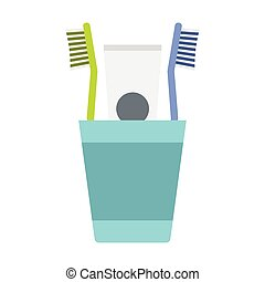 Cup with toothbrushes and toothpaste icon