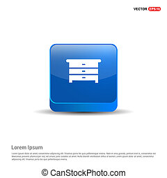 Cupboard Icon - 3d Blue Button