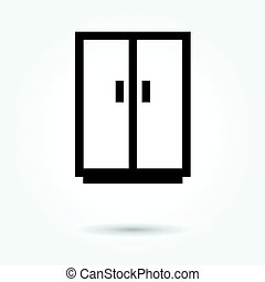 Cupboard wardrobe icon, modern design web element on white background. logo