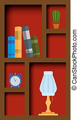 cupboard with books and items. EPS10