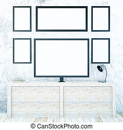 Cupboard with monitor and frames