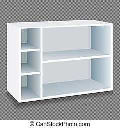 Cupboard with shelves in white on a transparent background. Isolated vector illustration