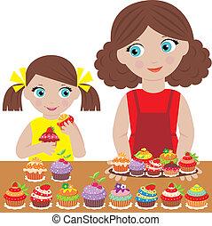 cupca, bakken, dochter, moeder