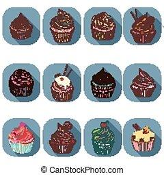 cupcake, カラフルである, アイコン
