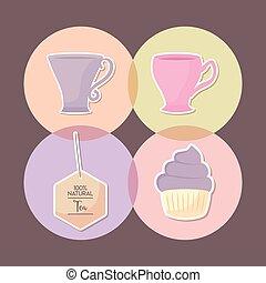 cupcake, セット, おいしい, アイコン