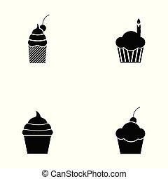 cupcake, セット, アイコン