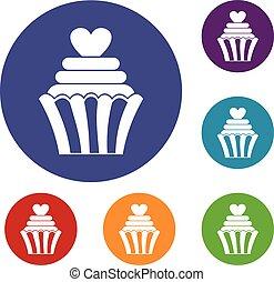 cupcake, セット, 愛, アイコン