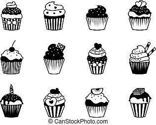 cupcake, セット, 黒, アイコン
