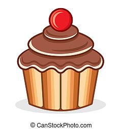 cupcake, ベクトル, イラスト