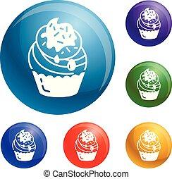 cupcake, ベクトル, セット, アイコン