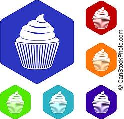 cupcake, 六角形, セット, アイコン