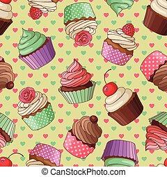 cupcake, 圖案, 黃色