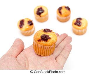cupcake, 在, 手, a, 白色 背景
