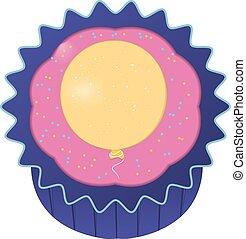 cupcake, 由于, 黃色, balloon