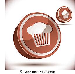 cupcake, 3d, vetorial, ícone, isolado, branco, experiência.