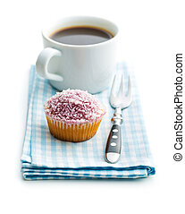 Cupcake and coffee cup.