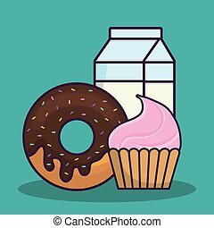 cupcake and donut icon