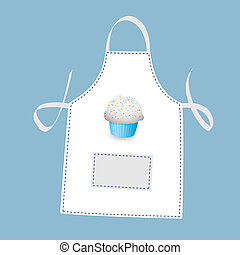 Small cupcake apron concept with blue background