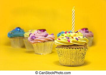 cupcake, auf, gelber