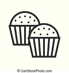 cupcake. bakery christmas theme icon, editable line