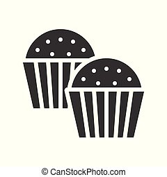 cupcake. bakery christmas theme icon, solid