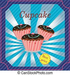 Cupcake bakery shop poster