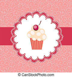 cupcake, bakgrund, inbjudan