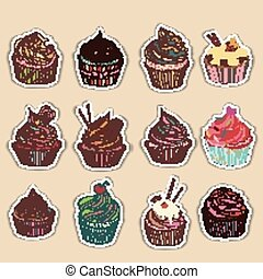 cupcake, barwny, ikona