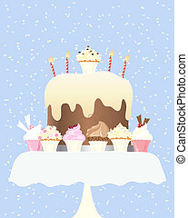 cupcake birthday - an illustration of a big birthday cake...