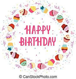 Cupcake birthday frame