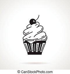 Cupcake black vector icon